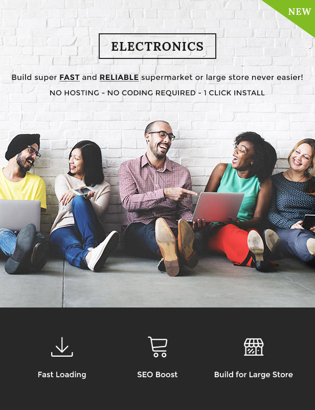 Build super FAST e RELIABLE supermarket or large lojum never easier! No hosting - No CODING necessário - 1 click Instalar