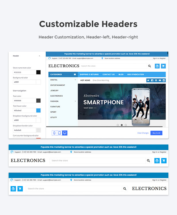 Customizable header