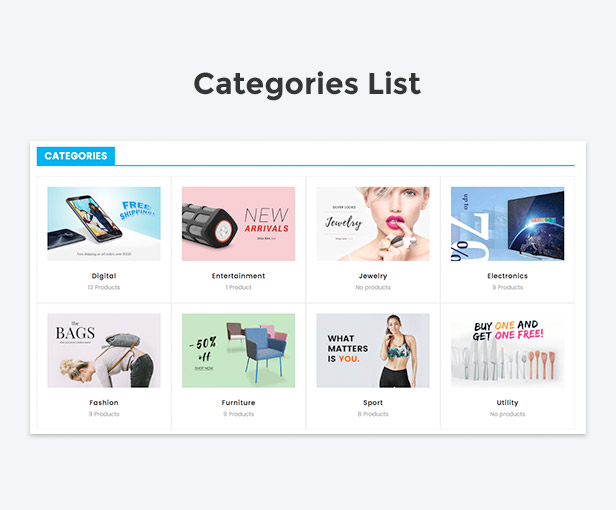 Categories list