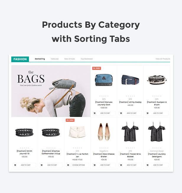 Display products by category with sorting tabs support