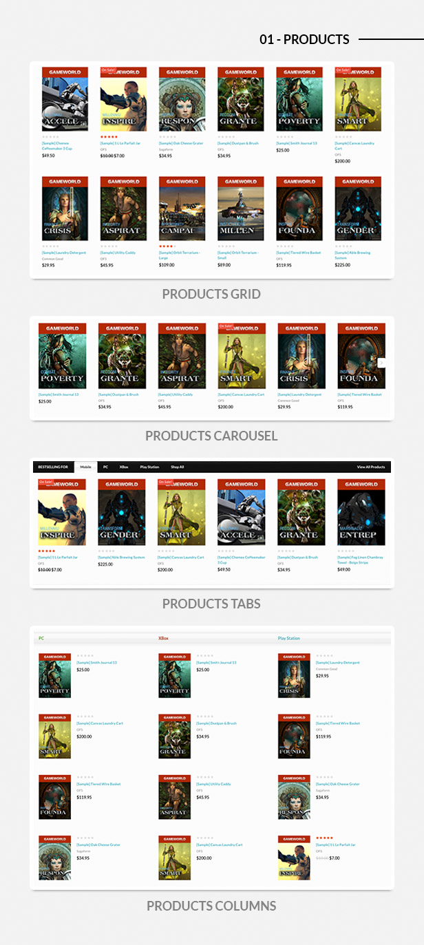 new, bestselling, featured products in grid, list, carousel