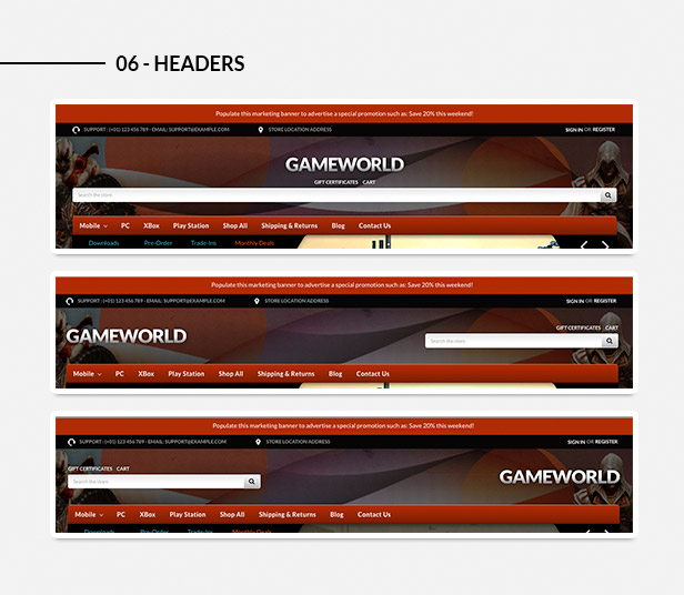 Various headers styles