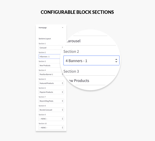 Configurable block sections