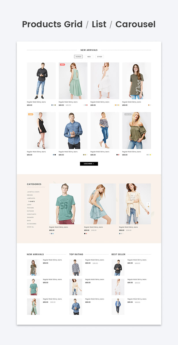 Products grid, list, carousel for new products, bestselling, featured products