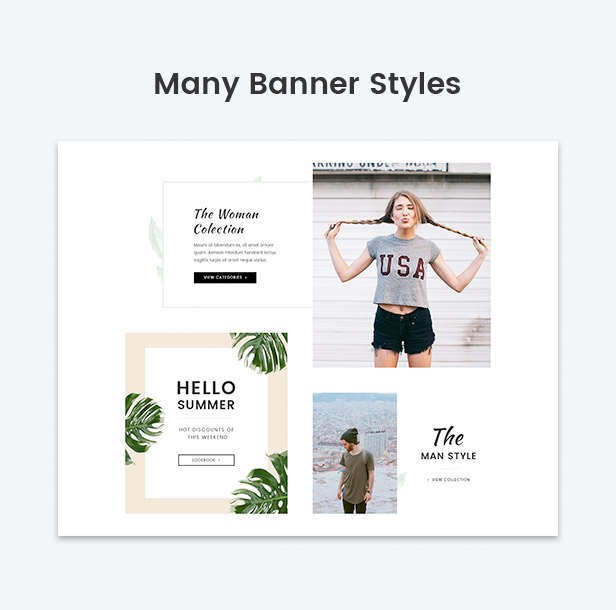 Various banner styles for fashion BigCommerce stores