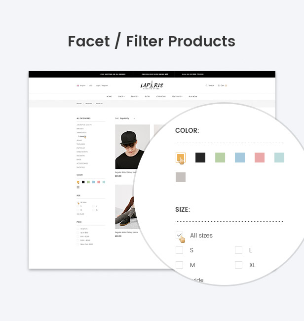 Facet filter products supported