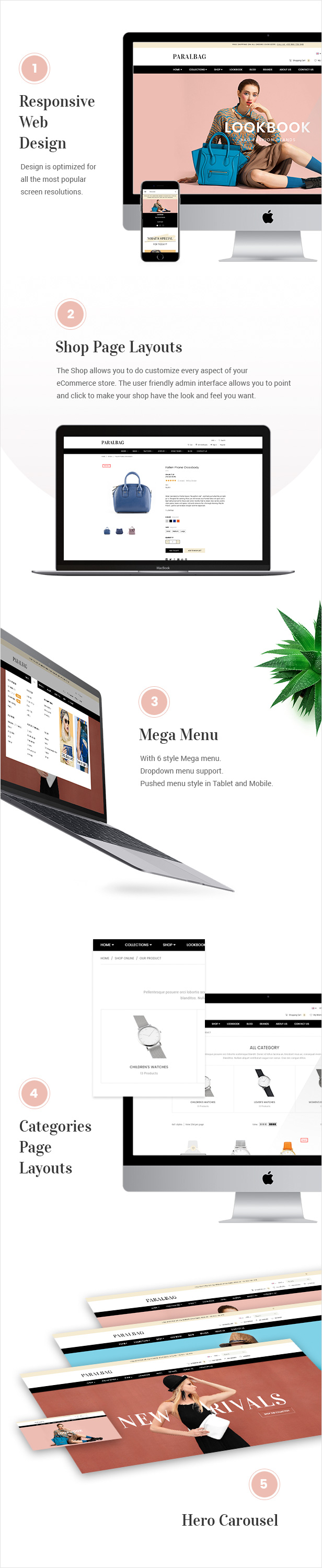 Responsive Web Design, Shop Page Layouts, Mega Menu, Category Page Layouts, Hero Carousel, Products List