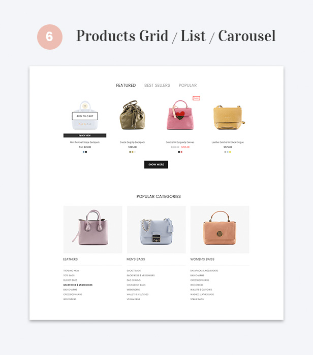 Products Grid / List / Carousel