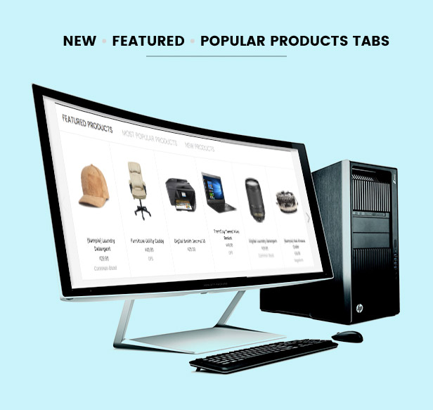 Display new, featured, bestselling product tabs