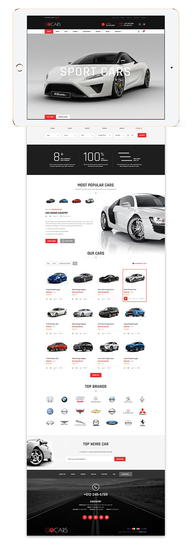 Homepage Design template - Go Cars