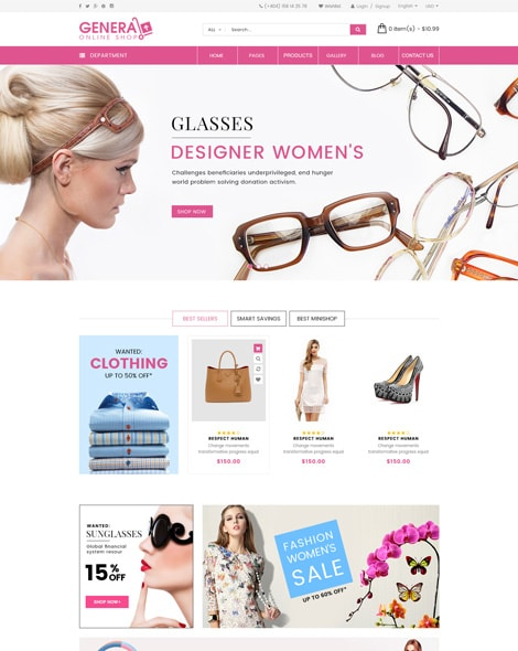 Glasses Store HTML Template