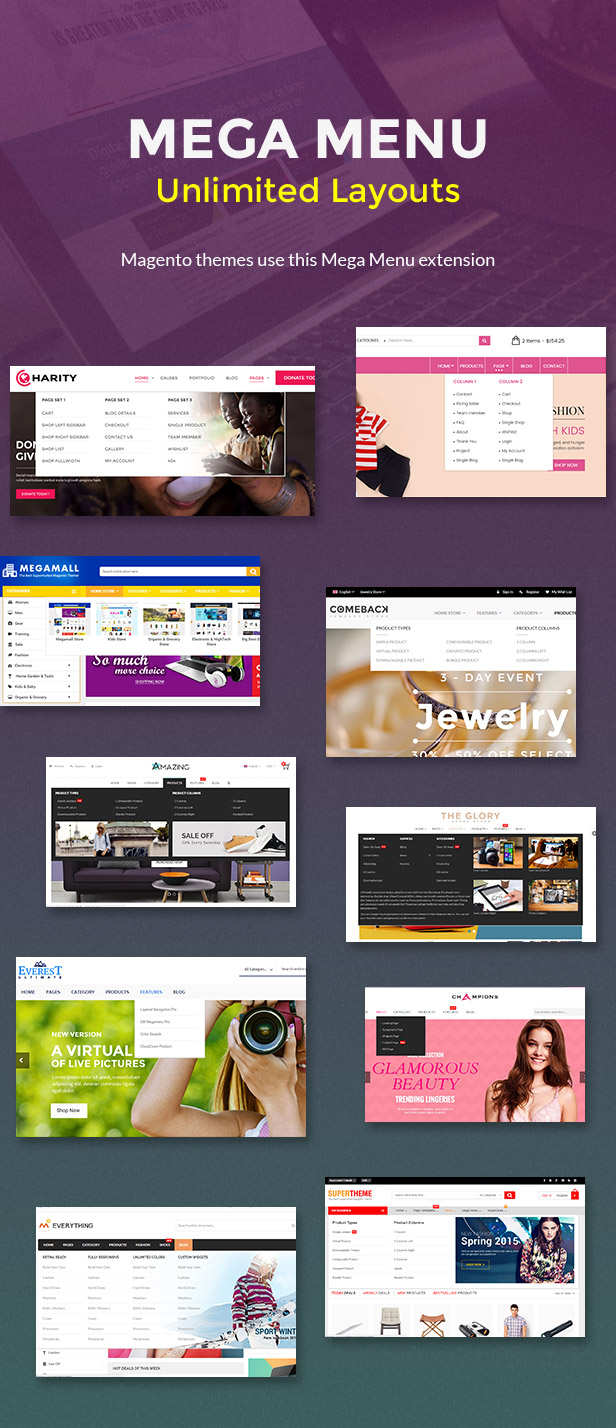 Mega menu unlimited layout - Magento themes use this mega menu extension