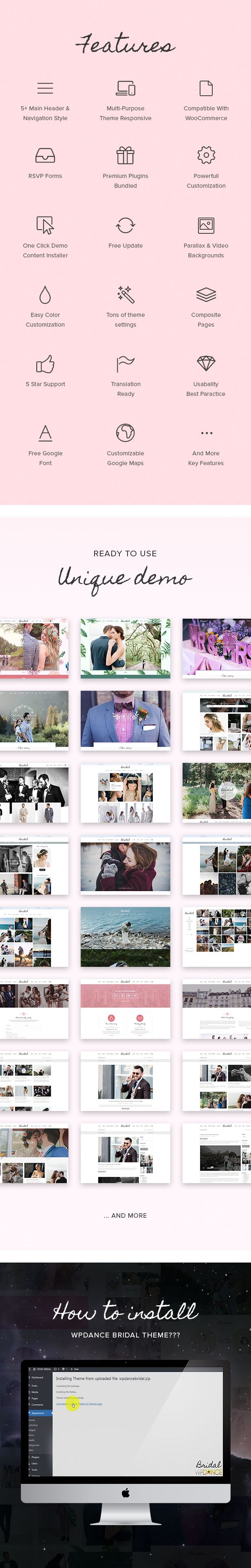 Bridal - Wedding WordPress Theme + RSVP, Event Planner, Ceremony, Gallery, Shop