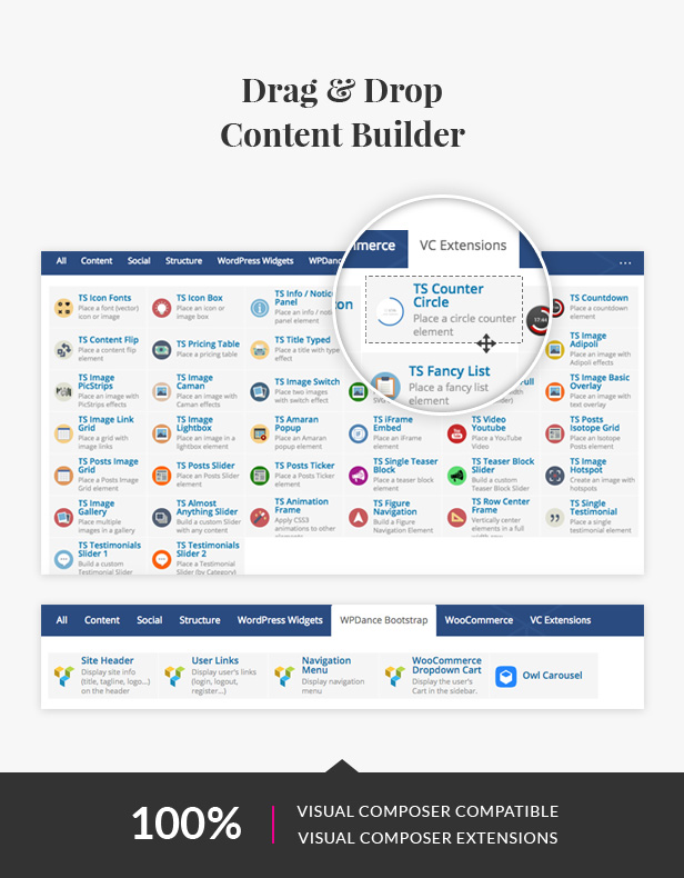 Drag & drop content page builder